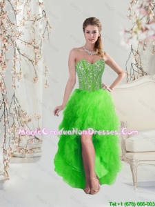 2016 High Low Sweetheart Spring Green Graduation Dresses with Beading
