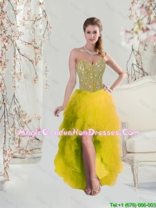 2016 High Low Sweetheart Yellow Graduation Dresses with Beading and Ruffles For Girls