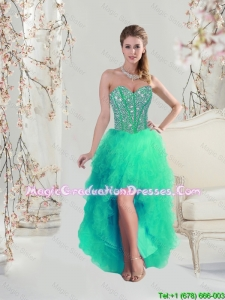 Discount High Low Beaded and Ruffles Apple Green High School Graduation Dresses for 2016
