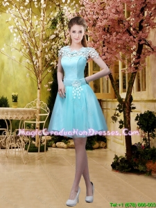 Luxurious A Line Belt and Appliques Graduation Dresses with Cap Sleeves For Girls