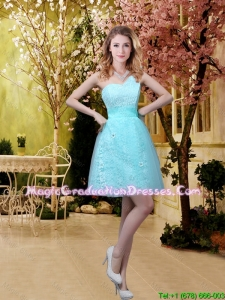New Style A Line Laced Graduation Dresses with Appliques in Aqua Blue For Girls