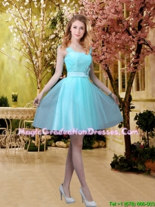 Pretty Aqua Blue Short 2016 Graduation Dresses with Belt