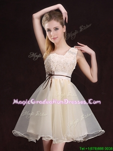 2017 Beautiful One Shoulder Belted and Applique Graduation Dress in Organza