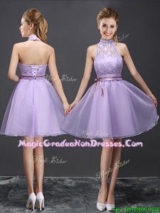 2017 New See Through Halter Top Belted and Laced Lavender Graduation Dress