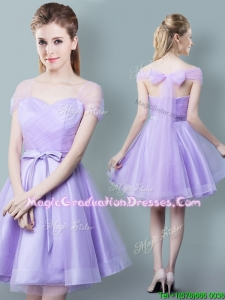 2017 Simple Bowknot and Ruched Short Graduation Dress in Lavender