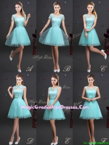 Beautiful Laced Aquamarine Graduation Dress with Appliques and Belt