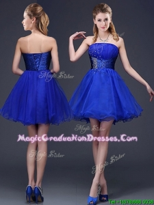 Romantic Strapless Beaded Organza Short Graduation Dress in Royal Blue