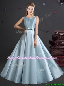 2017 Spring Elegant Straps Light Blue Graduation Dress with Bowknot