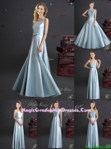Best Selling Elastic Woven Satin Long Graduation Dress in Light Blue