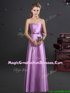 Classical Elastic Woven Satin Bowknot Graduation Dress in Lilac