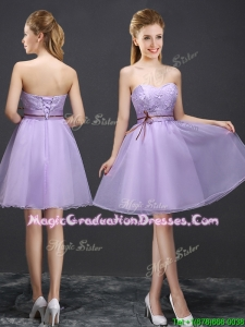 Exclusive Belted and Applique Lavender Graduation Dress with Lace Up