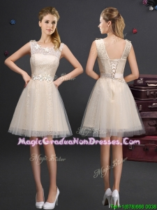 Fashionable Scoop Champagne Graduation Dress with Lace and Belt