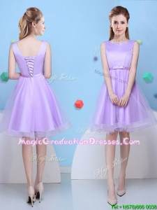 Fashionable Scoop Lavender Short Graduation Dress with Bowknot