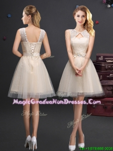 Hot Sale Scoop Laced and Applique Champagne Graduation Dress