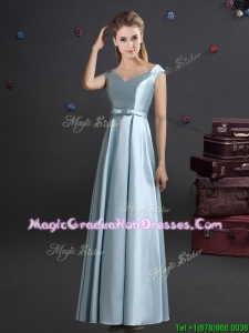 Latest Off the Shoulder Light Blue Graduation Dress with Bowknot