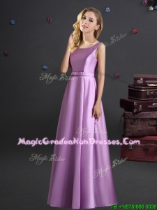 Modern Elastic Woven Satin Lilac Graduation Dress with Square