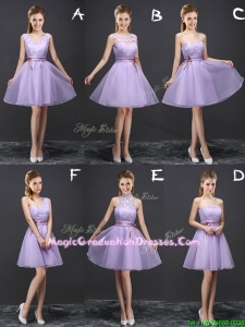 Pretty A Line Belted Lavender Graduation Dress in Organza