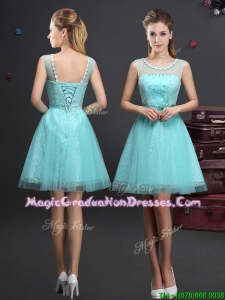 Simple Applique Decorated Scoop Graduation Dress with Beading