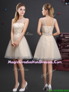 Sweet See Through Applique Top Graduation Dress in Champagne
