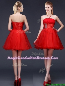 Wonderful Strapless Red Short Graduation Dress with Beading and Ruching