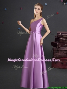 2017 Fashionable Bowknot Lilac Graduation Dress with One Shoulder