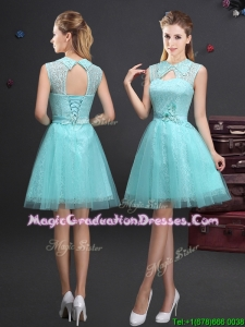 Best Turndown Aquamarine Short Graduation Dress with Appliques