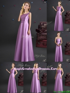 Discount Elastic Woven Satin Lilac Graduation Dress in Floor Length