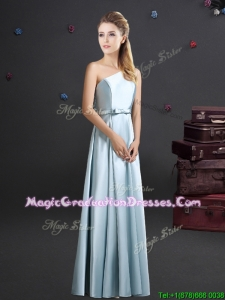 Discount One Shoulder Long Graduation Dress in Light Blue
