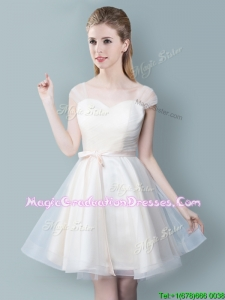 Fashionable Knee Length Champagne Graduation Dress with Cap Sleeves