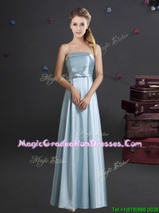 Gorgeous Bowknot Strapless Floor Length Light Blue Graduation Dress