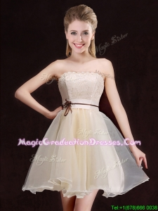 Latest A Line Organza Short Graduation Dress with Lace and Belt