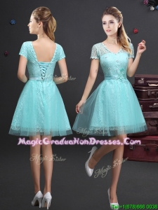 Latest V Neck Laced and Applique Graduation Dress in Aquamarine