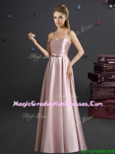 Lovely Empire Sweetheart Bowknot Pink Long Graduation Dress