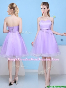 Low Price Sweetheart Lavender Short Graduation Dress with Bowknot