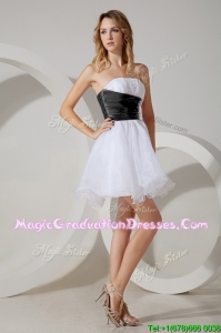 Luxurious Beaded White and Black Short Graduation Dress in Organza