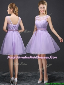 Luxurious See Through Laced and Belted Graduation Dress with Appliques