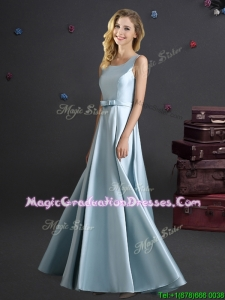 Modest Bowknot Square Long Graduation Dress in Light Blue