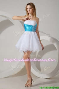 New Arrivals Strapless White Graduation Dress with Belt and Beading
