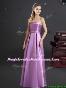 New Style Spring Bowknot Lilac Graduation Dress with Strapless