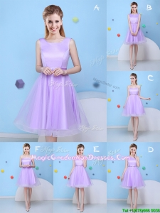 Popular Bowknot Lavender Tulle Short Graduation Dress with Lace Up