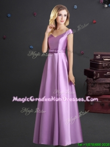Popular Off the Shoulder Elastic Woven Satin Lilac Graduation Dress