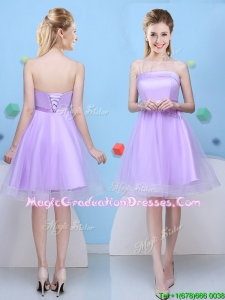 Pretty Strapless Bowknot Lavender Graduation Dress with Lace Up