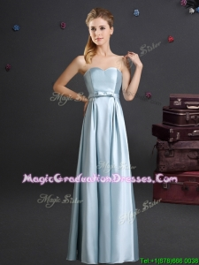 Pretty Sweetheart Bowknot Light Blue Graduation Dress in Floor Length