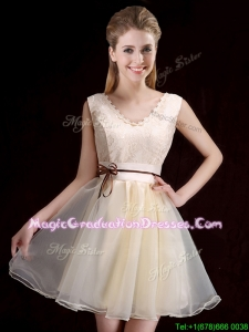 Pretty V Neck Belted and Applique Short Graduation Dress in Organza