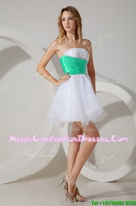 Romantic Belted and Beaded Graduation Dress in Mini Length