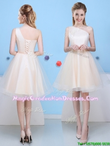Romantic Bowknot One Shoulder Champagne Graduation Dress in Tulle