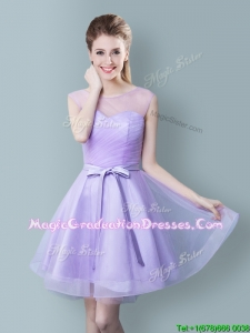Romantic Scoop Bowknot Lavender Short Graduation Dress in Tulle