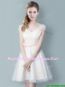 Wonderful V Neck Champagne Graduation Dress with Cap Sleeves