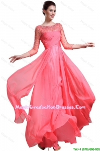 Beautiful Bateau Coral Red 8th Grade Graduation Dresses with 3/4-length Sleeves