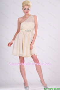 Beautiful One Shoulder Beaded 8th Grade Graduation Dresses in Champagne